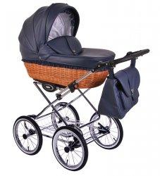 Retro Deluxe ECO-Leder | 2 in 1 mit Liegewanne und Sportwagen | oder 3 in 1 mit Autoschale | Kombi-Kinderwagen | Dunkelblau/Naturweidenkorb