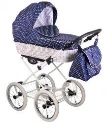 CLASSICO RETRO | 2 in 1 mit Liegewanne und Sportwagen | oder 3 in 1 mit Autoschale | Kombi-Kinderwagen |  Blau, gepunktet | Naturweidenkorb in Weiß