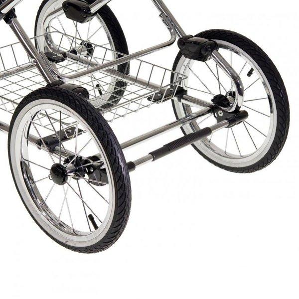 Kombikinderwagen Classico Emma | 2 in1 SET mit Babywanne & Sportsitz | Chromgestell mit grauem Griff | Navy Blue