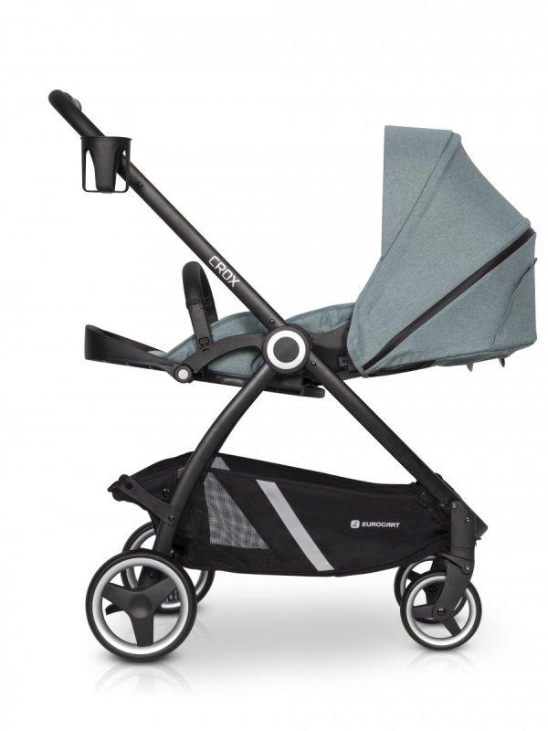 CROX Kinderwagen / Sportwagen mit Babywanne / ab Geburt bis 4 Jahre verwendbar | Alugestell mit 4 Reifen + Fußabdeckung + Flaschenhalterung gratis | Farbe Pearl/ Hellgrau