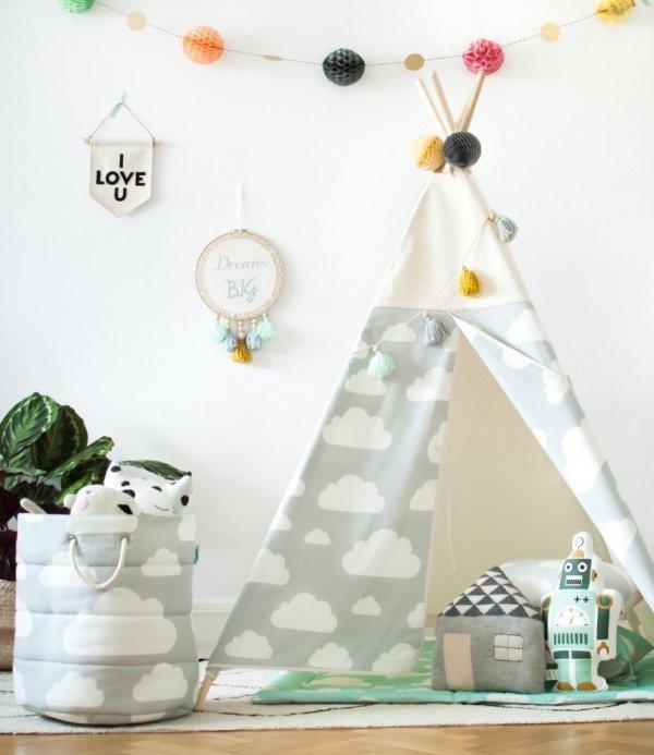 Tipi/Teepee Zelt WOLKE Grau | Spielzelt | Kinderzelt | Indianerzelt