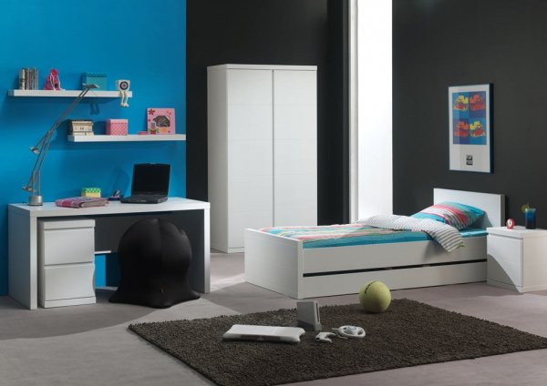 Jugendbett mit Bettschublade 200 x 90 cm LORA | Weiß, hochwertiges MDF