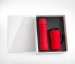 Zestaw FLUO termos 500 ml + kubek termiczny z rączką 450 ml gumowany (czerwony)