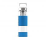 Termos szklany SIGG WMB z zaparzaczem HOT & COLD Glass 400 ml (Electric Blue)