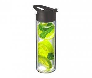 Kubek termiczny szklany 400 ml CLETEA szczelny (bezbarwny/czarny)
