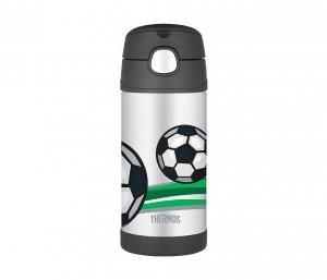 Kubek dla dzieci ze słomką Thermos FUNtainer 355 ml (stalowy/czarny) motyw piłka