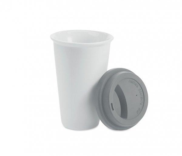Kubek termiczny ceramiczny TUMBI 350 ml biały/szary
