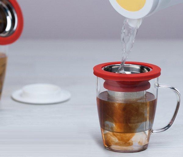 Kubek z zaparzaczem do herbaty 350 ml PAO Ming Infuser biało-niebieski