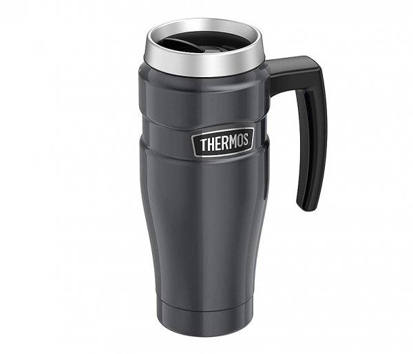 Kubek termiczny Thermos Travel King 470 ml z rączką grafitowy