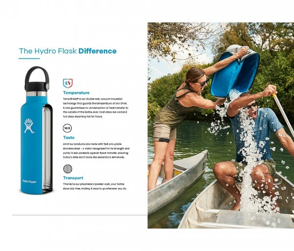 Butelka termiczna Hydro Flask 621 ml Flex Cap z podkładką Boot błękitny geyser #RefillForGood