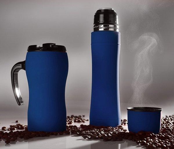 Kubek termiczny fluo szczelny gumowany niebieski 450 ml