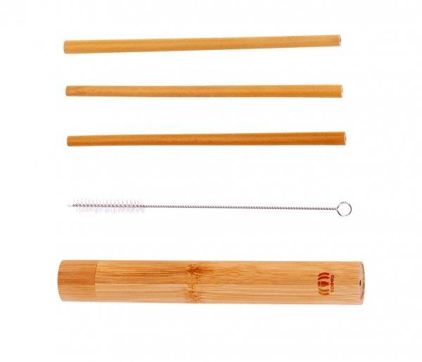 Słomki z bambusa 3 szt w tubie AMBEO brązowy