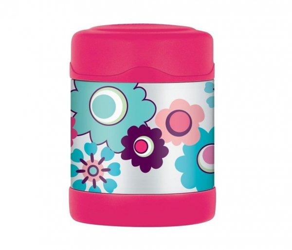 Thermos FUNtainer 290 ml stalowy/różowy motyw kwiaty