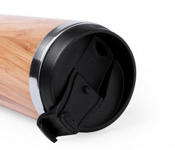 Kubek termiczny z bambusa i stali 450 ml AMBEO CUP2 szczelny bambusowy