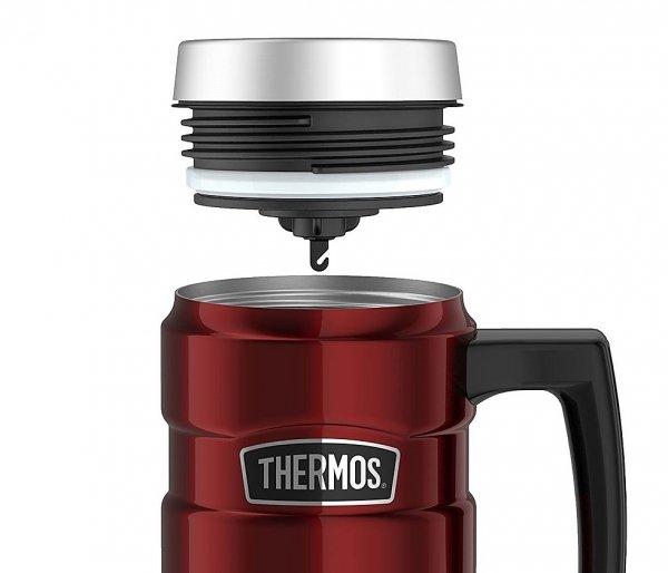 Kubek termiczny Thermos Travel King 470 ml z rączką czerwony