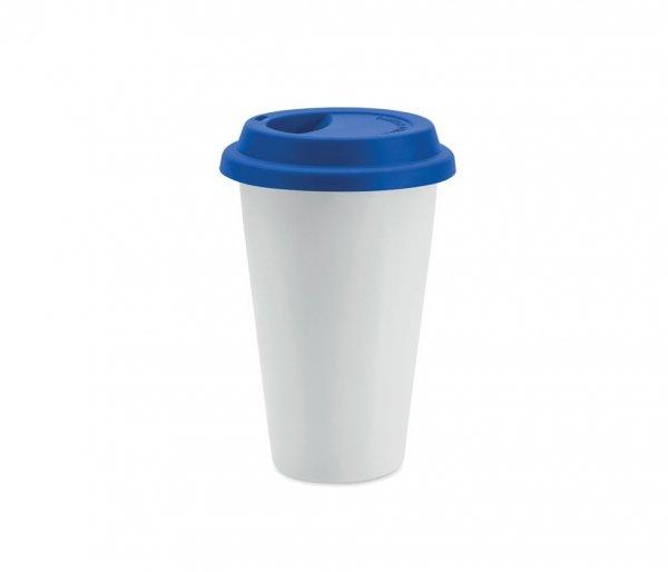 Kubek termiczny ceramiczny TUMBI 350 ml biały/niebieski
