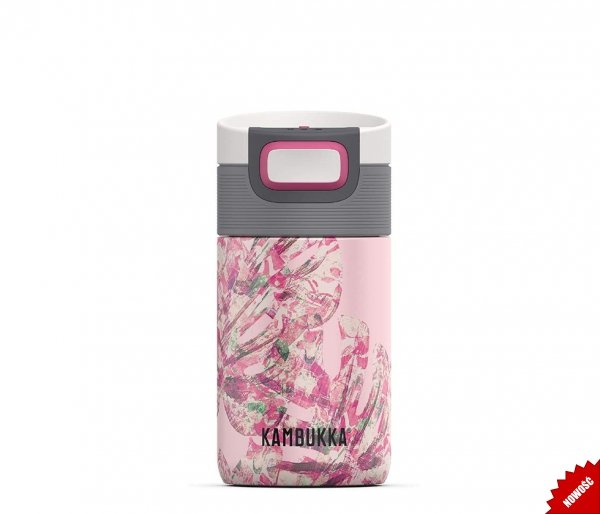 Kubek termiczny Kambukka Etna 300 ml Monstera Leaves różowy