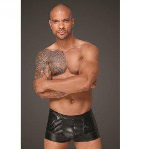 H054 Powerwetlook men's shorts with decorative PVC pleats S