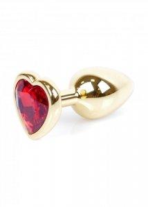 Plug-Jewellery Gold  Heart PLUG- Red