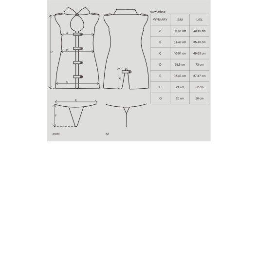Stewardess kostium 3-częściowy S/M