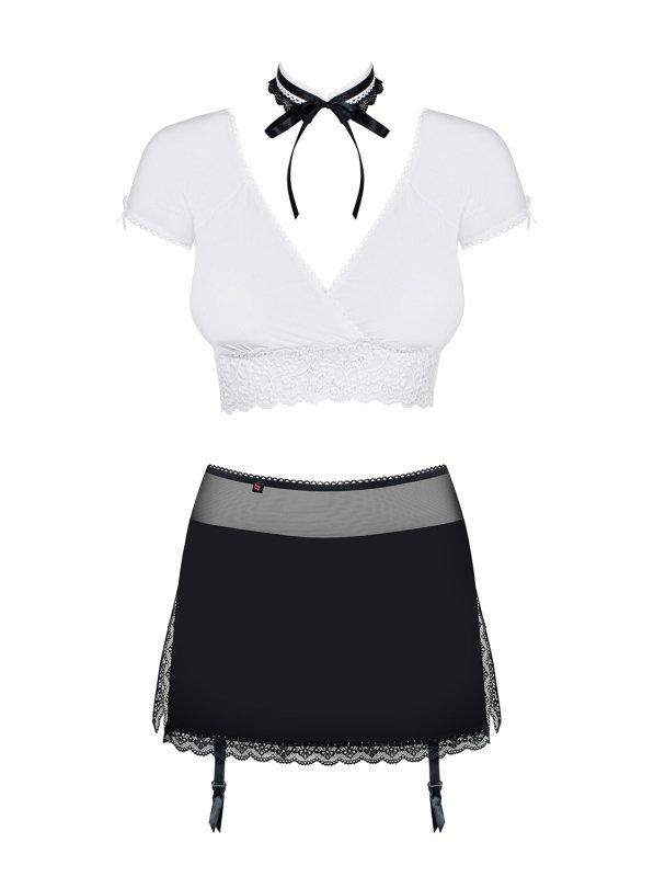 Bielizna-Secretary kostium 5-częściowy czarny L/XL