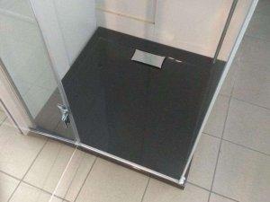 WYPRZEDAŻ Brodzik Polimat Comfort Black Matowy 120x80x3x4,5 cm + Pokrywa Chrom