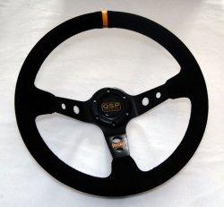 Kierownica zamszowa 3 ramienna QSP 90 czarna