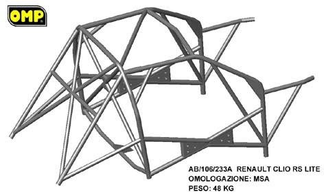 Wielopunktowa klatka bezpieczeństwa OMP Renault Clio 2.0 16V RS 1998-