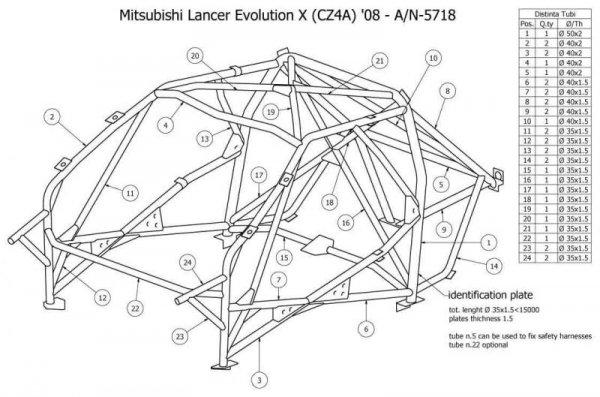Wielopunktowa klatka bezpieczeństwa OMP Mitsubishi Lancer EVO X