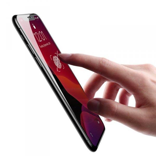 Baseus szkło hartowane na cały ekran Full Screen z ramką 0.23mm 9H iPhone 11 Pro Max / iPhone XS Max + pozycjoner czarny (SGAPIP