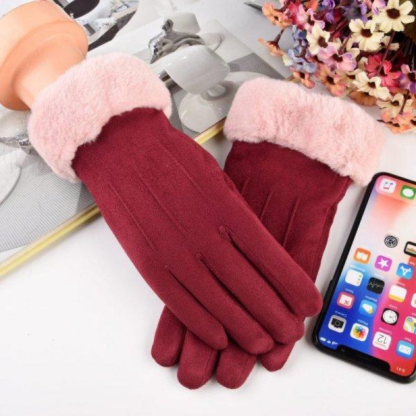 Uniwersalne rękawiczki na zimę do ekranów dotykowych różowy