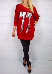 Bluza Oversize Nadruk Red Dzianina