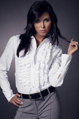 Koszula z żabotem długi rękaw K01