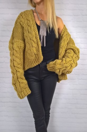 Sweter Divia Gruby Splot Musztarda