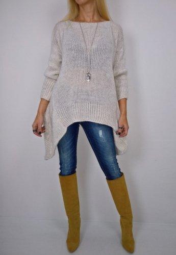 Włoski Asymetryczny Sweter Beż