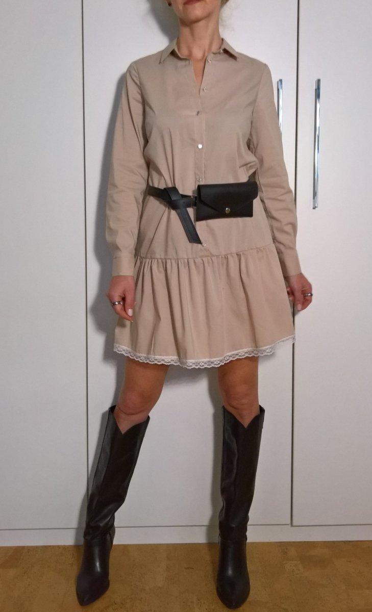 Koszulowa Sukienka Saszetka Beż