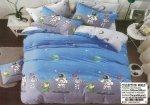 Pościel Collection World 140x200 dla dzieci - Niebieska - Szara Kosmonauci - Planety - 100% bawełna wz 1247