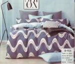 Pościel Mengtianzi 180x200 Grafitowa - Błękitna 100% bawełna B-923