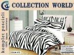 Pościel Collection World 160x200 Biało - Czarna Zeberka 100% bawełna wz 472