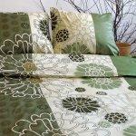 Ekskluzywna pościel satynowa Andropol 200x220 Zielona  w Kwiaty 100% bawełna wz. 17768/31 . Pościel Ecru -  Zielona w Kwiaty 200x220