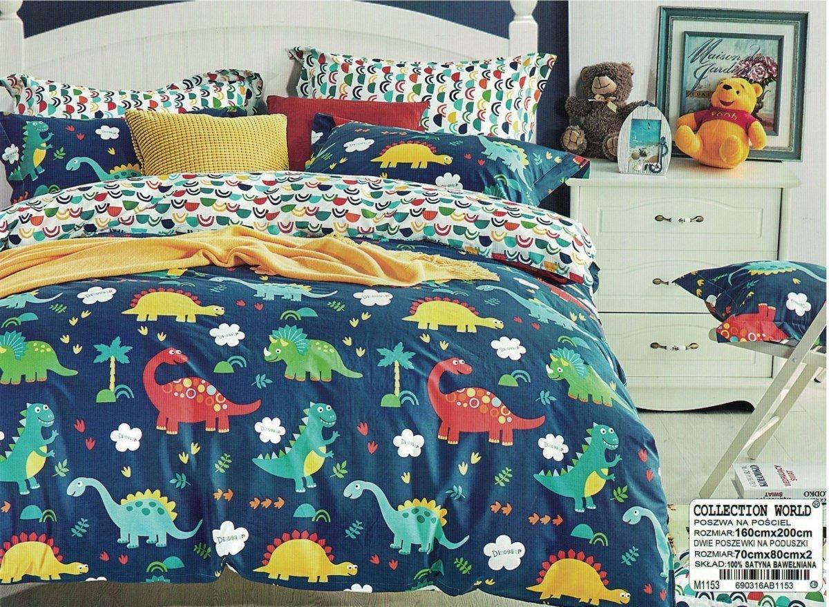 Pościel Collection World 160x200 Dla Dzieci Biała Granatowa Z