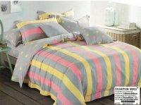 Pościel Collection World 140x200 Szara w Kolorowe paski 100% bawełna wz 1053