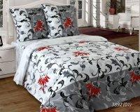 Pościel bawełniana 160x200 Biała - Szara w Kwiaty Luxury 100% bawełna. Biało - Szara pościel 160x200