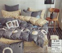 Pościel Mengtianzi 160x200 Beżowa - Szara 100% bawełna wz B-840