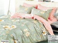 Pościel Collection World 200x220 Szaro - Różowa w Kwiaty 100% bawełna wz 812