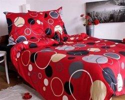 Ekskluzywna pościel satynowa Andropol 160x200 cm 100% bawełna wz. 17 805/2 . Czerwona w Grochy 160x200