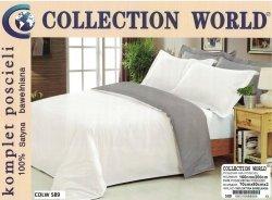 Jednobarwna pościel Collection World 160x200 100% bawełna wz 589 Biało-Szara