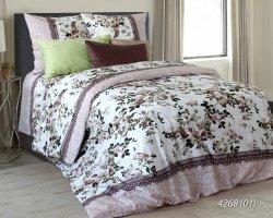 Pościel bawełniana 160x200 Ecru w Kwiaty Luxury 100% bawełna. Pościel w Kwiaty 160x200