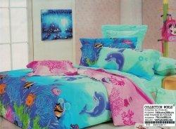 Niebiesko - Różowa pościel dla dzieci z Rybkami 160x200 cm Collection World 100% bawełna wz. 111