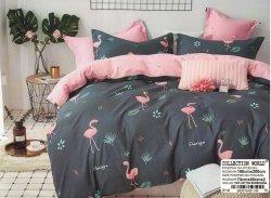 Pościel Collection World 160x200 Grafitowa - Różowa we Flamingi 100% bawełna wz 1148